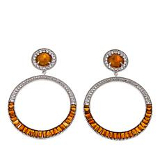 Colleen Lopez Gemstone and White Topaz Circle Drop Earrings