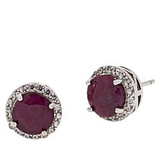 Colleen Lopez Glass-Filled Ruby and White Zircon Stud Earrings