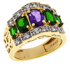 Colleen Lopez Gold-Plated Amethyst, Chrome Diopside and Zircon Ring