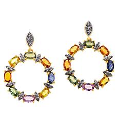 Colleen Lopez Gold-Plated Multi-Sapphire and Zircon Circle Earrings