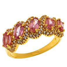 Colleen Lopez Gold-Plated Padparadscha Sapphire and White Zircon Ring
