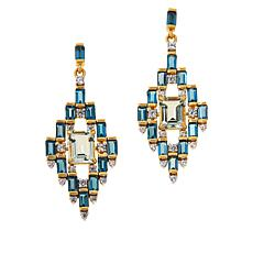 Colleen Lopez Gold-Plated Prasiolite and London Blue Topaz Earrings