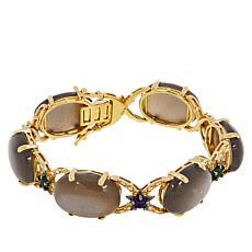 Colleen Lopez Goldtone Moonstone, Chrome Diopside & Amethyst Bracelet