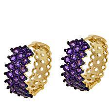 Colleen Lopez Goldtone Sterling Silver Gemstone Hugger Hoops