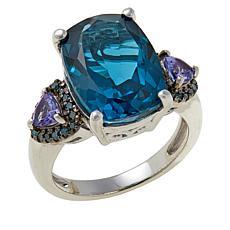 Colleen Lopez London Blue Topaz, Tanzanite and Blue Diamond Ring