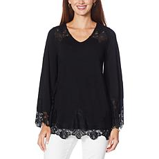 Colleen Lopez Long Bell Sleeve Lace Inset Top
