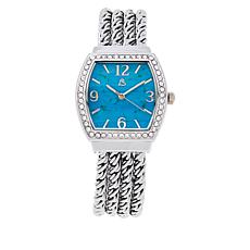 Colleen Lopez Mosaic Gemstone Dial Rope Chain Bracelet Watch