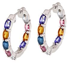 Colleen Lopez Multi Gemstone Inside-Outside Hoop Earrings