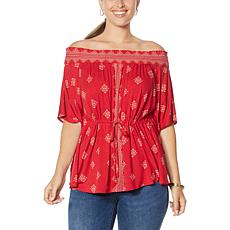 Colleen Lopez Off-the-Shoulder Smocked Neck Printed Top