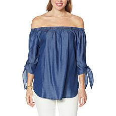 Colleen Lopez Off-the-Shoulder Top with Tie Sleeves