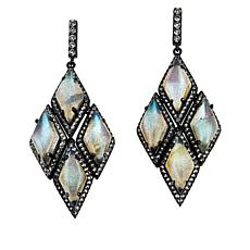 Colleen Lopez Oval Gemstone and White Topaz Drop Earrings