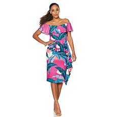 Colleen Lopez Palm Paradise Ruffle Off-the-Shoulder Dress