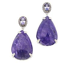 Colleen Lopez Pear-Shaped Tanzanite and White Topaz Drop Earrings