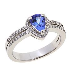 Colleen Lopez Pear-Shaped Tanzanite & White Zircon Ring