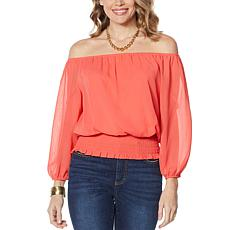 Colleen Lopez Peasant Blouse with Smocked Waist - Fashion