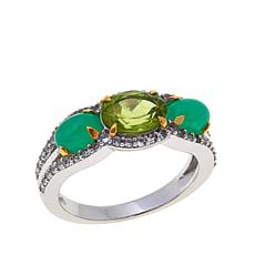 Colleen Lopez Peridot and Chrysoprase 3-Stone Ring