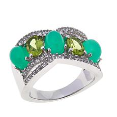 Colleen Lopez Peridot and Chrysoprase 5-Stone Ring