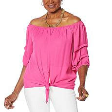 Colleen Lopez Pleated-Sleeve Tie Blouse