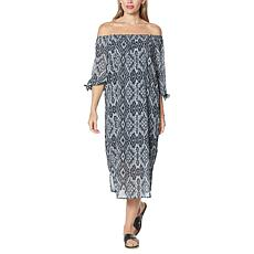 Colleen Lopez Printed Off-the-Shoulder Dress