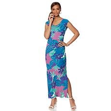 Colleen Lopez Printed Ruched Maxi Dress