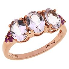 Colleen Lopez Rose Gold-Plated Morganite and Ruby Ring
