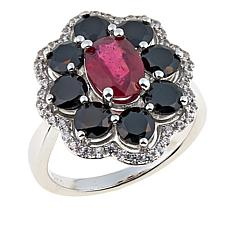Colleen Lopez Ruby, Black Spinel and White Zircon Sterling Silver Ring