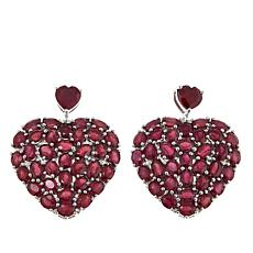 Colleen Lopez Ruby Heart-Shaped Sterling Silver Drop Earrings