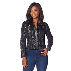 Colleen Lopez Sequin Striped Zip-Front Jacket