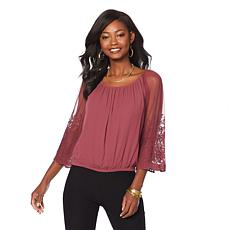Colleen Lopez Sheer-Sleeve Peasant Blouse