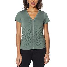 Colleen Lopez Short-Sleeve Chain Detail Top with V-neck