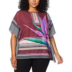 Colleen Lopez Split Neck Printed Woven Poncho