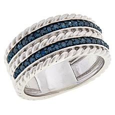 Colleen Lopez Sterling Silver 0.25ctw Colored Diamond Rope Band Ring