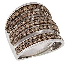 Colleen Lopez Sterling Silver 2.00ctw Colored Diamond Multi-Row Ring
