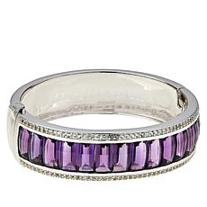 Colleen Lopez Sterling Silver Amethyst and White Zircon Bangle