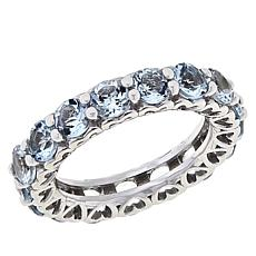 Colleen Lopez Sterling Silver Aquamarine Eternity Band Ring