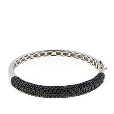 Colleen Lopez Sterling Silver Black Spinel Hinged Bangle