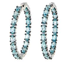 Colleen Lopez Sterling Silver Blue Apatite Hoop Earrings