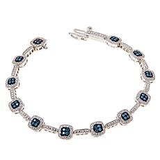 Colleen Lopez Sterling Silver Blue Diamond Tennis Bracelet