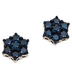 Colleen Lopez Sterling Silver Colored Diamond Floral Stud Earrings