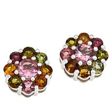 Colleen Lopez Sterling Silver Gemstone Flower Stud Earrings