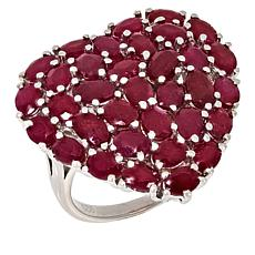 Colleen Lopez Sterling Silver Indian Ruby Heart Ring