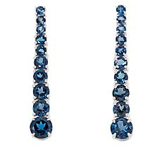 Colleen Lopez Sterling Silver London Blue Topaz Linear Drop Earrings