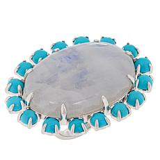 Colleen Lopez Sterling Silver Moonstone and Turquoise Ring