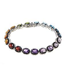 Colleen Lopez Sterling Silver Multi-Color Gemstone Line Bracelet