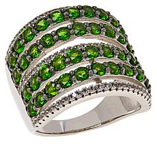 Colleen Lopez Sterling Silver Multi-Row Gemstone Statement Ring
