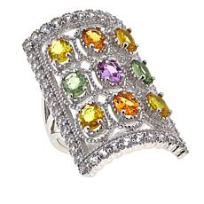 Colleen Lopez Sterling Silver Multi-Sapphire and White Zircon Ring