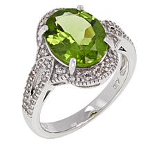 Colleen Lopez Sterling Silver Oval Peridot and White Zircon Ring