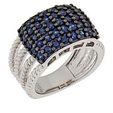 Colleen Lopez Sterling Silver Sapphire Multi-Row Ring