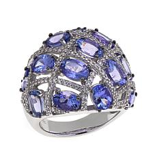 Colleen Lopez Sterling Silver Tanzanite and White Zircon Dome Ring
