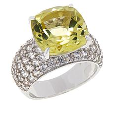Colleen Lopez Sterling Silver Yellow Quartz and White Zircon Ring